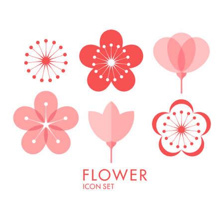 Ilustración de Flower. Icon set. Sakura - Imagen libre de derechos