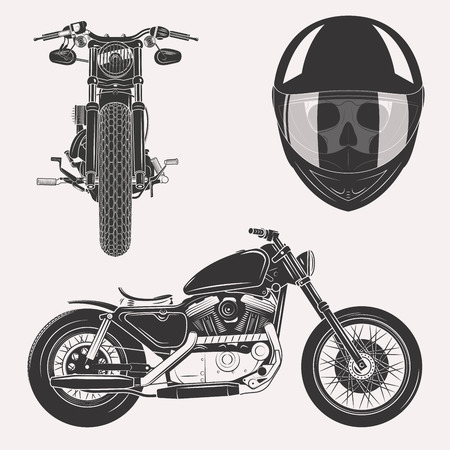 Illustration pour Vintage motorcycle set with skull in motorbike helmet front profile isolated on white background - image libre de droit