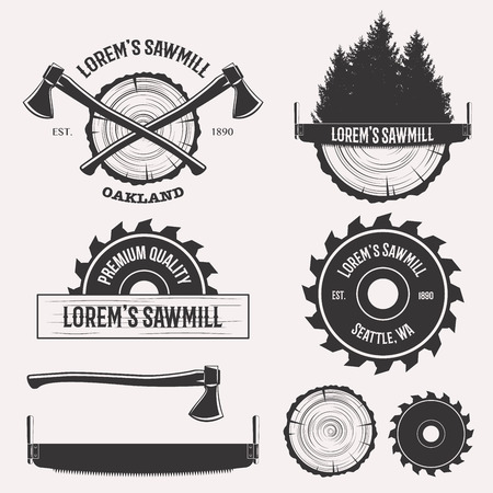 Ilustración de Vintage sawmill logo set labels badges and design elements isolated on white background - Imagen libre de derechos