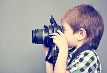 Photo for 	Baby boy with camera - Royalty Free Image