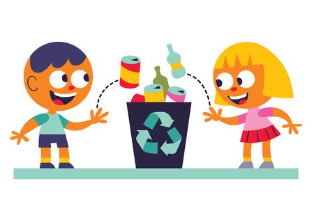 Ilustración de Boy and girl recycling - Imagen libre de derechos