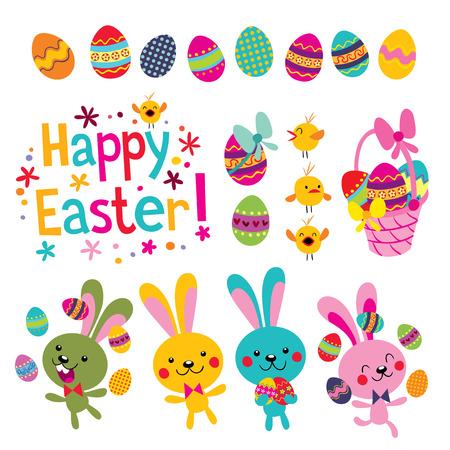Illustration pour Happy Easter design elements set - image libre de droit
