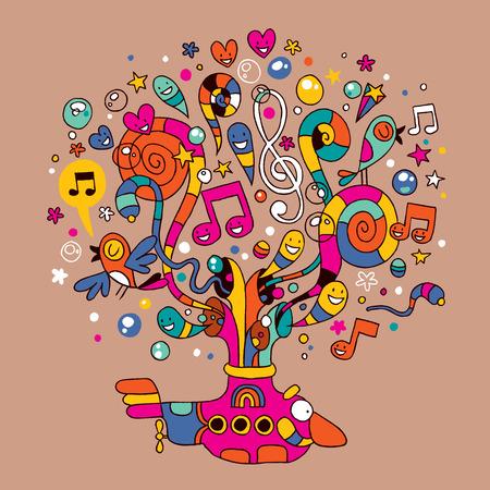 Ilustración de submarine with colorful music notes illustration  - Imagen libre de derechos