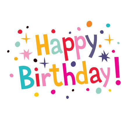Ilustración de Happy birthday cartoon text - Imagen libre de derechos