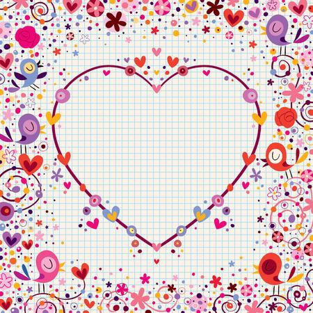 Illustration pour heart frame with birds and flowers - image libre de droit