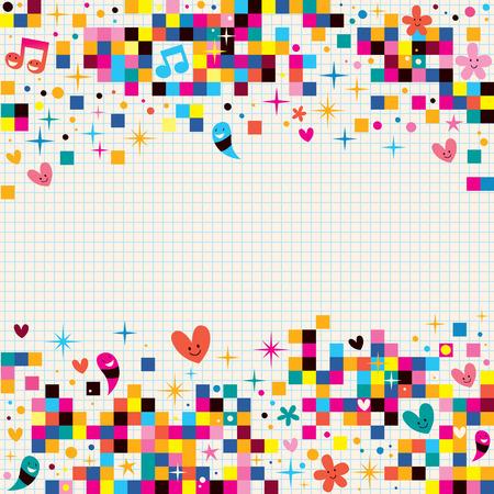 Illustration pour fun pixel squares note paper background - image libre de droit