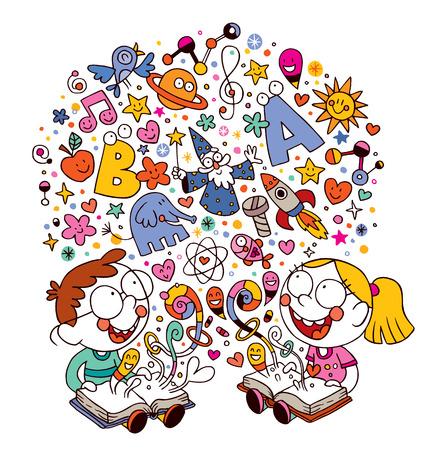 Illustration pour kids reading books - image libre de droit