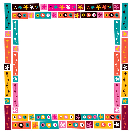 Illustration pour flowers collage decorative frame border - image libre de droit