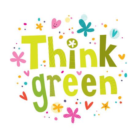 Ilustración de Think green text - Imagen libre de derechos