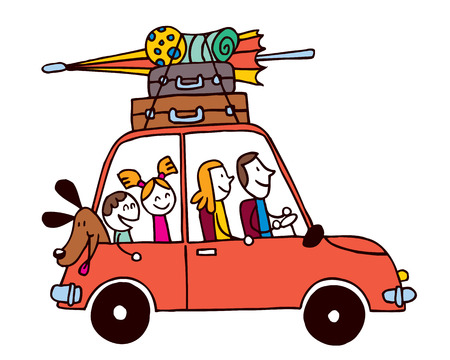 Ilustración de Family of four vacation, Car with luggage travel vector illustration - Imagen libre de derechos