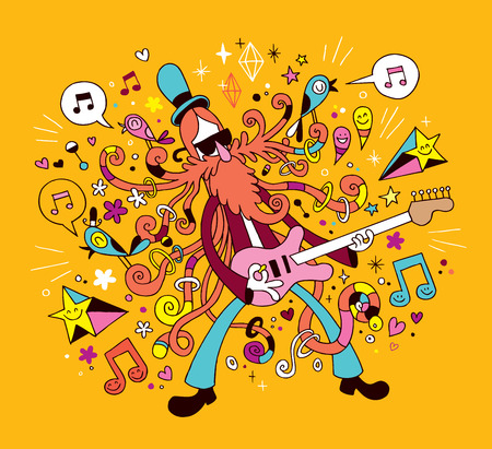 Illustration pour rock guitarist cartoon illustration - image libre de droit