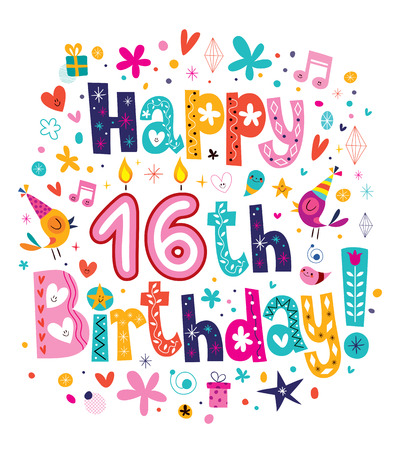 Ilustración de Happy 16th Birthday - Imagen libre de derechos