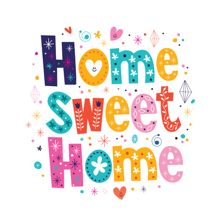 Illustration pour home sweet home typography lettering decorative text - image libre de droit