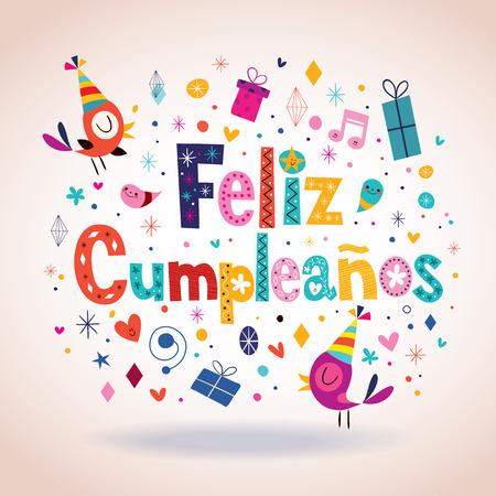 Illustration pour Feliz Cumpleanos - Happy Birthday in Spanish card - image libre de droit