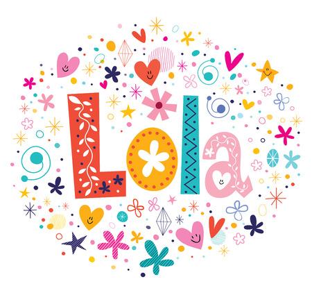 Photo for Lola female name decorative lettering type design - Royalty Free Image