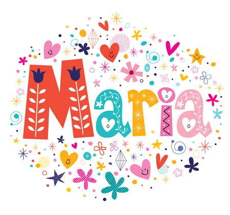 Photo for Maria female name decorative lettering type design - Royalty Free Image