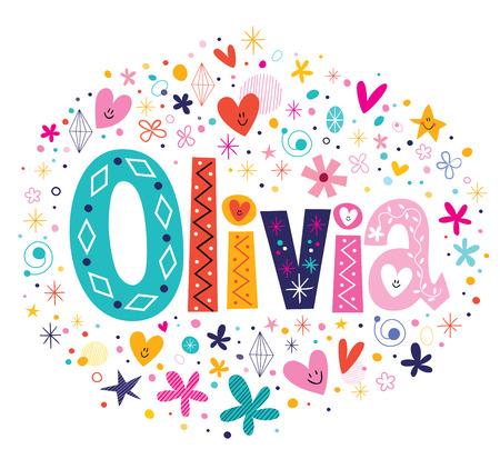 Foto de Olivia female name decorative lettering type design - Imagen libre de derechos