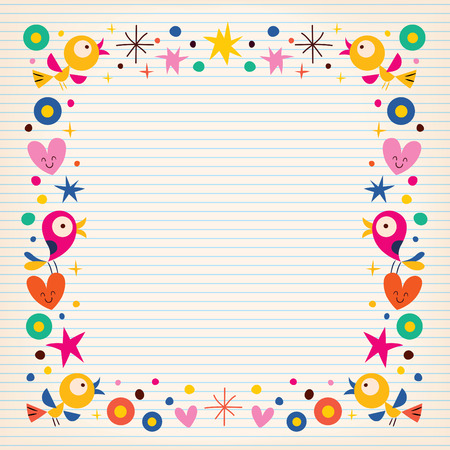 Ilustración de birds hearts happy border on lined paper background - Imagen libre de derechos