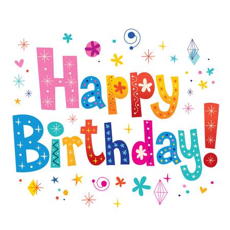 Illustration pour Happy Birthday decorative type unique lettering - image libre de droit