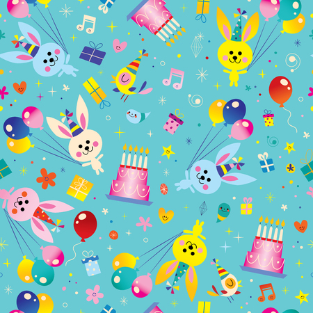 Ilustración de Happy Birthday kids seamless pattern with cute bunnies, balloons, birthday cakes - Imagen libre de derechos