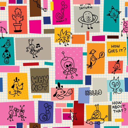 Illustration pour collage cartoon characters doodle seamless pattern - image libre de droit