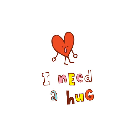 Illustration pour I need a hug caption with a humanoid heart shaped icon - image libre de droit