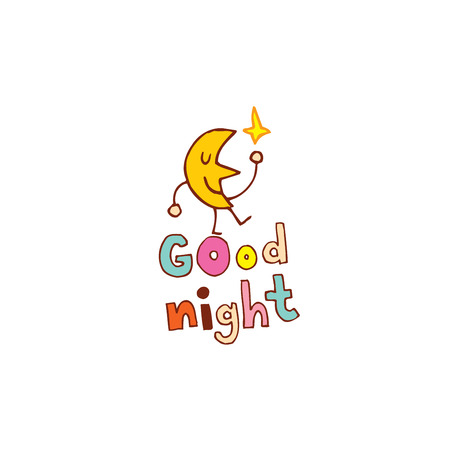 Illustration for good night hand lettering design with cute moon character - Royalty Free Image