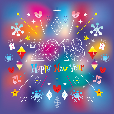 Illustration for Happy New Year 2018 - Royalty Free Image