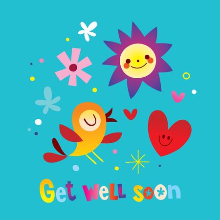 Illustration pour get well soon greeting card - image libre de droit