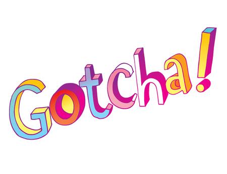 Ilustración de gotcha decorative lettering type design - Imagen libre de derechos