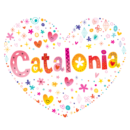 Illustration pour Catalonia autonomous community of Spain heart shaped type lettering vector design. - image libre de droit