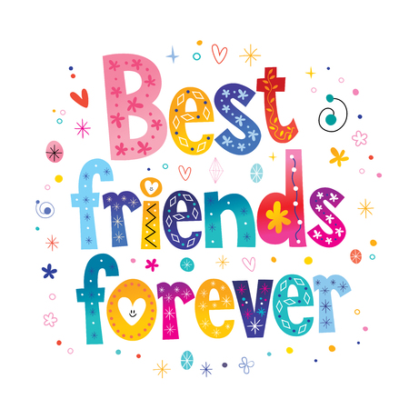 Illustration for Best friends forever calligraphy in colorful illustration. - Royalty Free Image