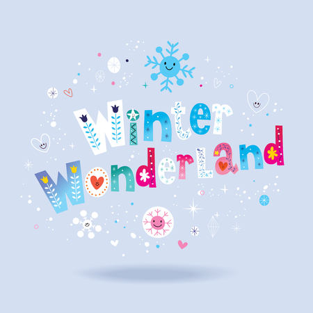 Illustration for Winter wonderland lettering design - Royalty Free Image