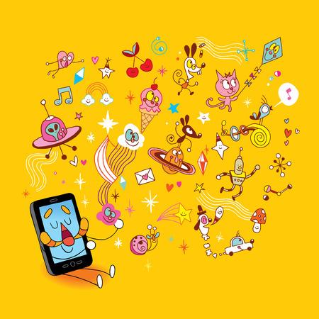 Illustration pour Smart phone sending fun cartoon characters - image libre de droit