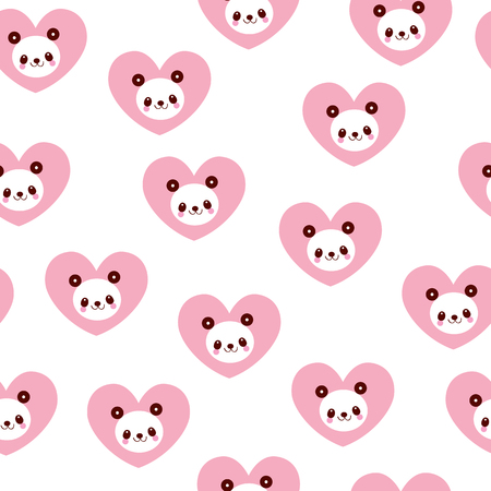 Illustration for cute panda bears and hearts seamless pattern - Royalty Free Image