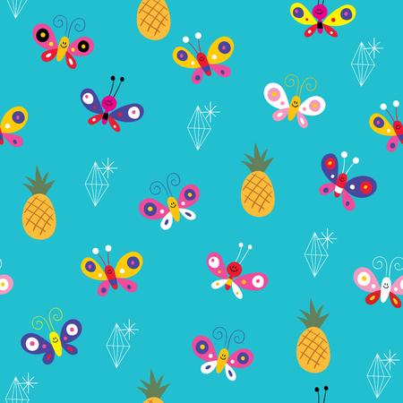 Ilustración de butterflies pineapples ananas diamonds seamless pattern - Imagen libre de derechos