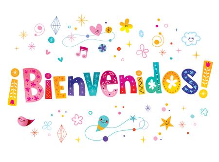 Ilustración de bienvenidos - welcome in Spanish - Imagen libre de derechos
