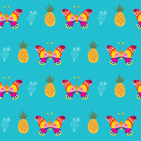 Illustration for butterflies pineapples ananas diamonds seamless pattern - Royalty Free Image