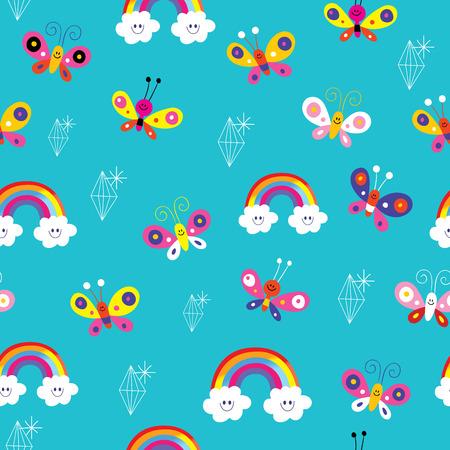 Ilustración de butterflies rainbows diamonds seamless pattern - Imagen libre de derechos