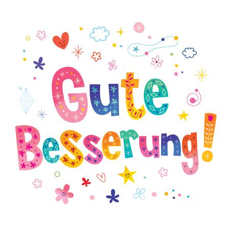 Ilustración de Gute Besserung - Get well soon in German - Imagen libre de derechos