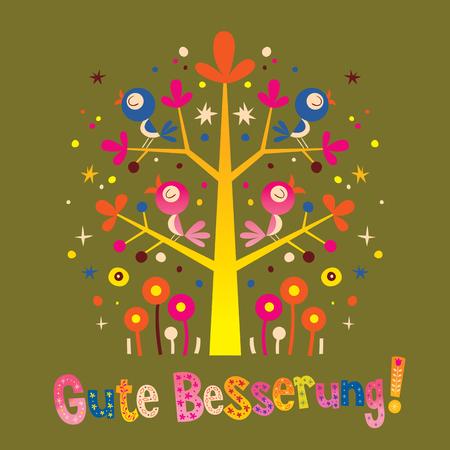 Ilustración de Gute Besserung - Get Well Soon in German - greeting card with cute birds - Imagen libre de derechos