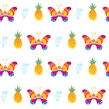Illustration for Butterflies pineapples diamonds seamless pattern - Royalty Free Image