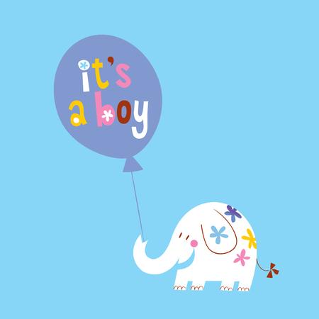 Illustration pour its a boy card with cute elephant - image libre de droit