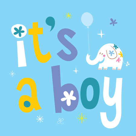 Illustration pour it's a boy - baby shower card with cute elephant - image libre de droit