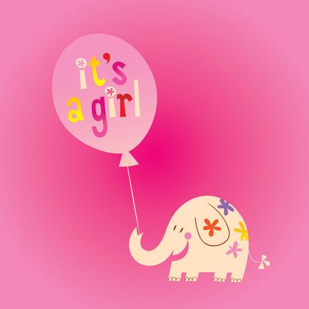 Illustration pour it's a girl - card with cute elephant - image libre de droit