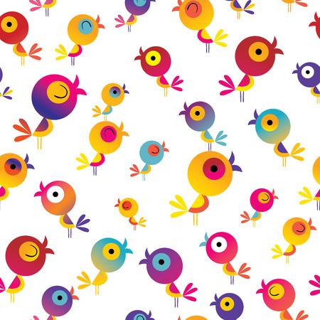 Ilustración de cute birds seamless pattern - Imagen libre de derechos
