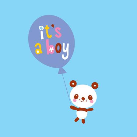 Illustration pour its a boy card with cute panda bear - image libre de droit