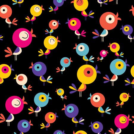 Ilustración de Cute birds seamless pattern on black background illustration. - Imagen libre de derechos