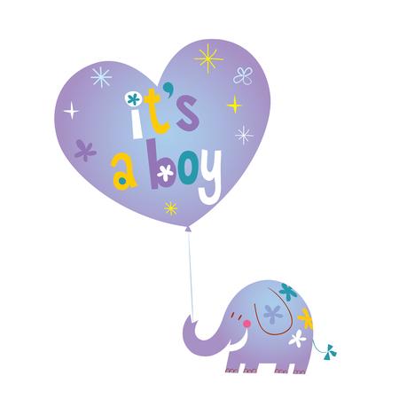 Illustration pour It's a boy - baby shower card with cute elephant - image libre de droit
