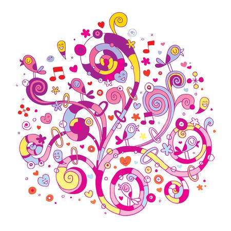 Ilustración de Swirls flowers hearts and birds - Imagen libre de derechos